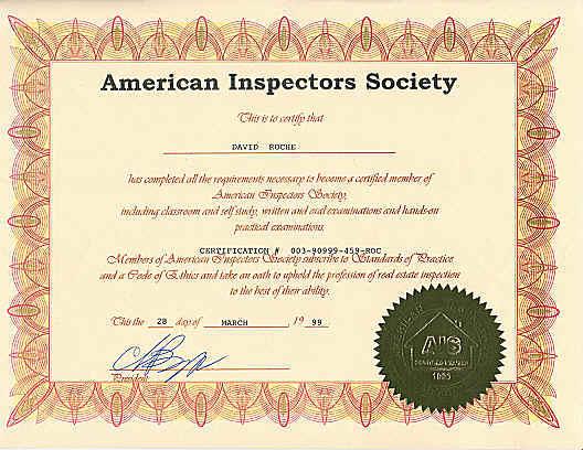 American Inspectors Society (A.I.S.) Certification - David Roche